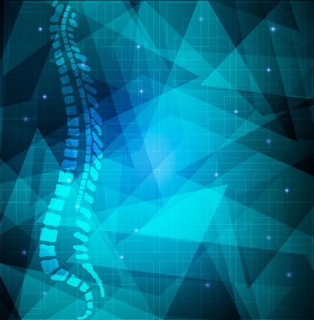 Backbone abstract blue background. Human vertebral column diagram on a abstract blue shapes background.