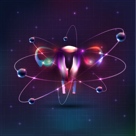 Female uterus abstract design, bright colorful illusration. Light lines at the background 向量圖像