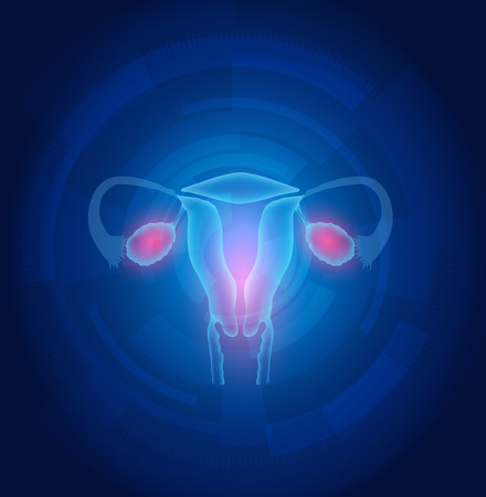 endometrium: Female uterus abstract blue technology background, treatment concept