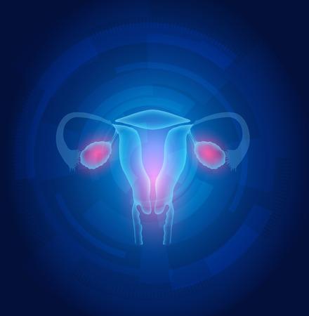 ovaire: Ut�rus de la femme abstraite technologie fond bleu, concept de traitement