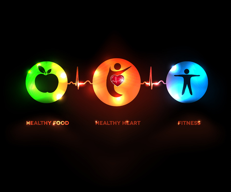 infarct: Healthy human concept symbols connected with heart beat line. Healthy food and fitness leads to healthy heart and life. Bright and sparkling design. Illustration