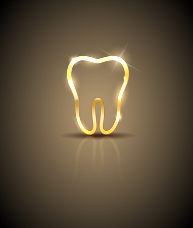 gold brown: Beautiful golden shiny tooth silhouette illustration