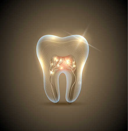 tooth pain: Beautiful golden transparent tooth with roots illustration. Healthy teeth care symbol.