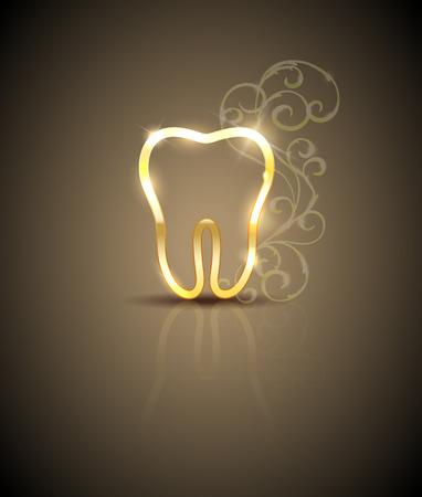 Schöne goldene Zahn mit swirly Blumen Standard-Bild - 37508280
