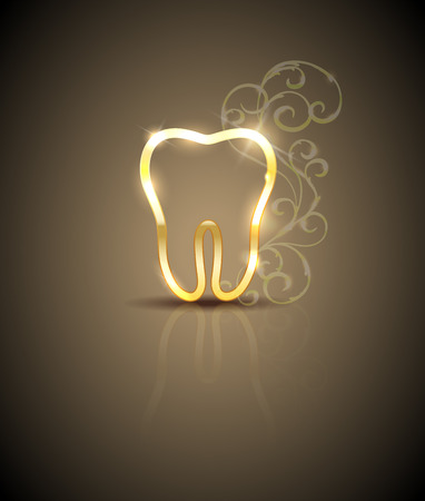 Beautiful golden tooth with swirly flowers Illustration