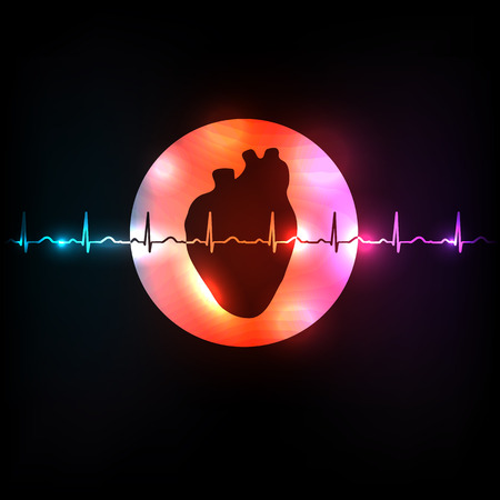 infarct: Healthy heart in the round shape and normal heart beat rhythm Illustration