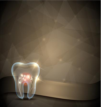 黄金の歯のパンフレット、美しい透明な歯とデザインが根の輝き