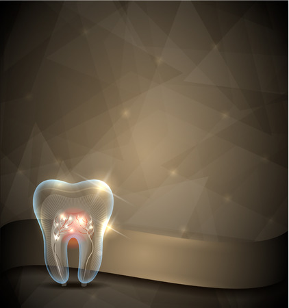 Golden tooth brochure, beautiful transparent tooth design with roots and shine