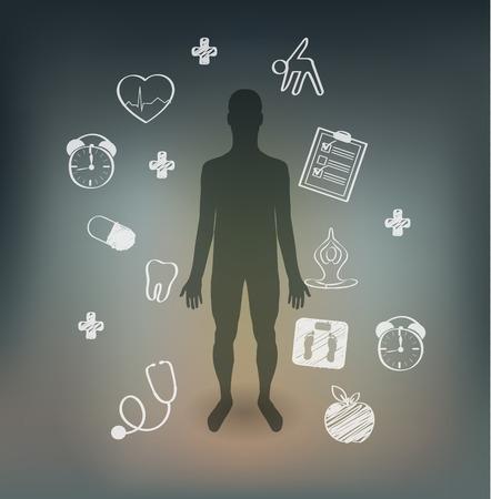 human health: Consejos de cuidado de la salud humana, ilustraciones dibujadas a mano. Los reconocimientos m�dicos peri�dicos, ejercicios, sin estr�s y peso normal Vectores