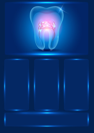 rosy: Dental template, beautiful transparent tooth with rosy roots and lights. Illustration