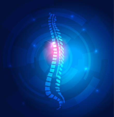 Human vertebral column abstract blue background with light lines