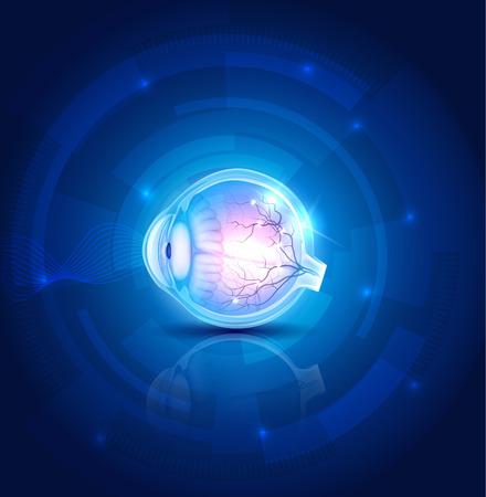 인간의 눈 비전, 추상적 인 푸른 기술 배경