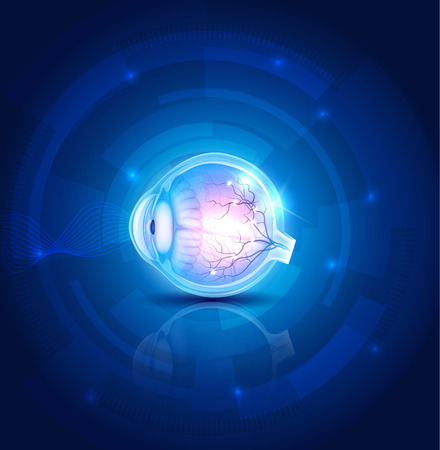 Human eye vision, abstract blue technology background