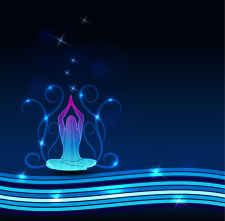 holistic health: Woman meditate. Beautiful blue background, lines, swirly flowers and sparkling lights.