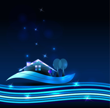 comercial: House on a beautiful blue background with shiny lines and stars Illustration