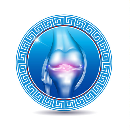 meniscus: Leg joint in the round blue shape, abstract design. Joint health care symbol