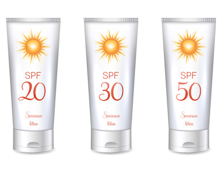Sunscreen lotion bottles SPF, from lower till very high protection.