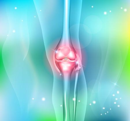 de rodillas: La rodilla de la pierna Anatom�a humana conjunta en un hermoso fondo azul claro