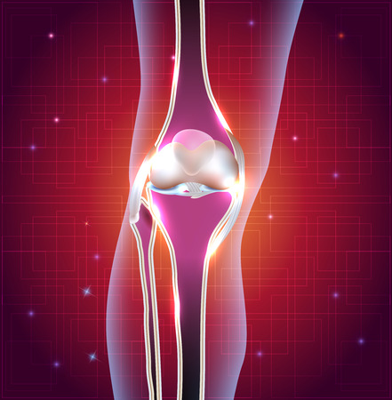 lower limb: Normal knee joint abstract bright design with light lines at the background Illustration