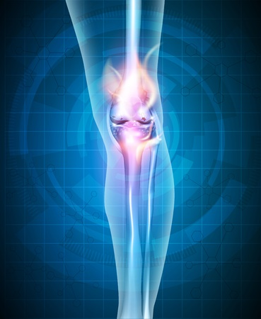 Burning knee, painful knee concept. Abstract blue technology background. 일러스트