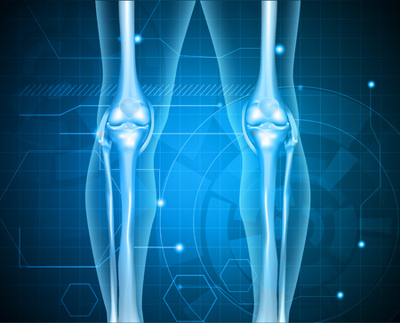 osteoarthritis: Healthy human legs knee joint on a abstract blue technology background