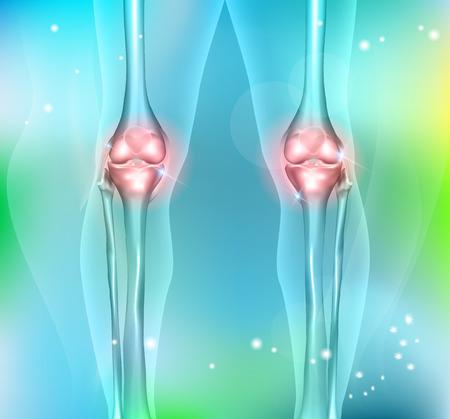 trauma: Healthy human leg knee joints on a beautiful light blue background Illustration