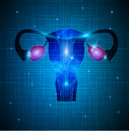 Uterus and ovaries abstract background