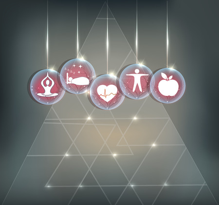 Symbols how to maintain healthy Cardiovascular system. No stress, good sleep, sport and healthy food. Abstract symbols with abstract vessels inside and transparent triangle at the background.