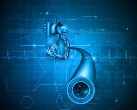 Cardiology abstract blue background, human heart artery and normal cardiogram