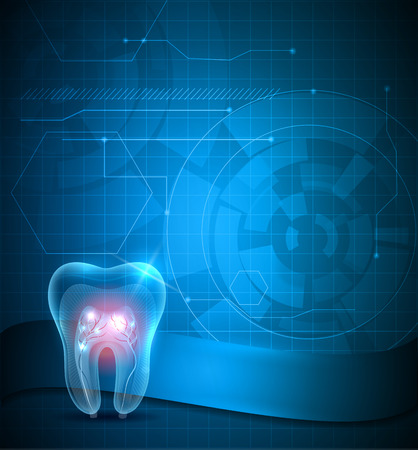 Dental scientific background design, transparent tooth with sparkling roots