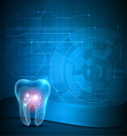 caries dental: Diseño de fondo científica dental, diente transparente con raíces espumosos Vectores