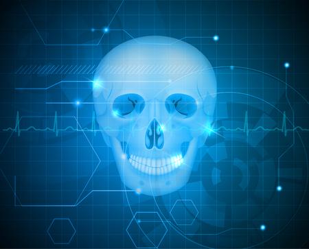 maxilla: Human skull abstract blue technology background