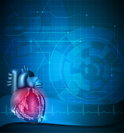 atherosclerosis: Heart abstract blue technology background and normal cardiogram