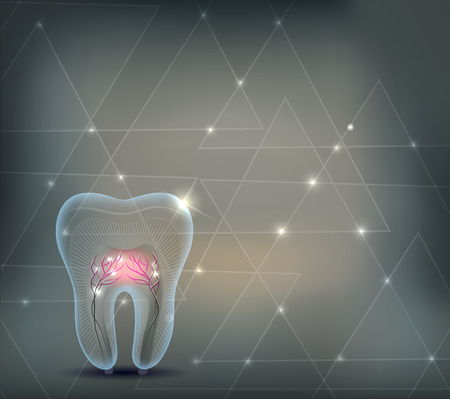 Dental background with triangles and transparent tooth with roots Stock Illustratie