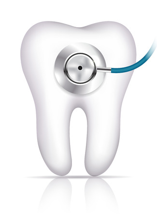 Tooth and phonendoscope abstract toothache diagnostic