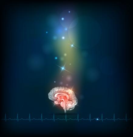 illness: Human brain abstract treatment background