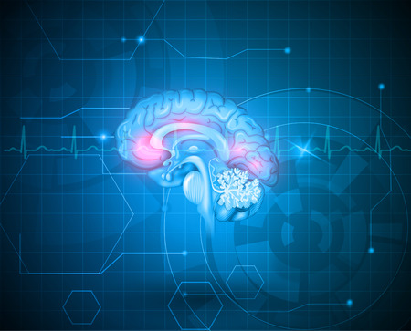 brain cells: Human brain treatment concept. Abstract blue technology background with cardiogram.