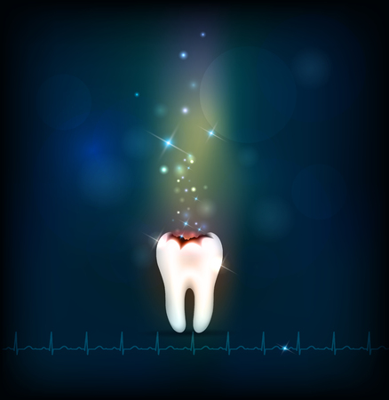 dental caries: Dental caries abstract dark background with cardiogram at the bottom. Abstract treatment.