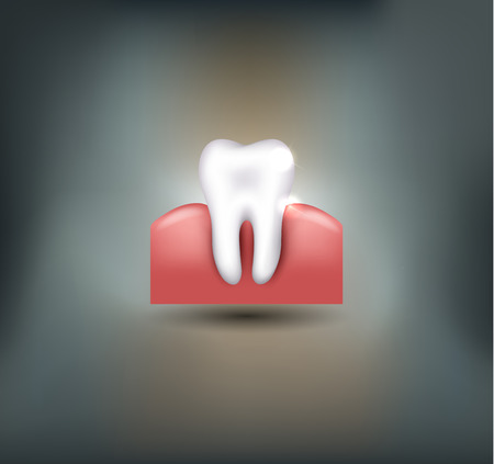 single: Healthy tooth on a beautiful grey mesh background