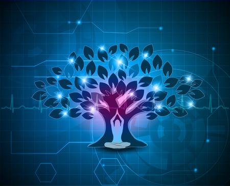 Grote kleurrijke boom en vrouw in yoga stelt aan de voorzijde, abstracte blauwe technologie achtergrond Stockfoto - 47548147