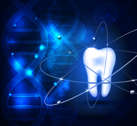 Healthy white tooth scientific background with DNA chain