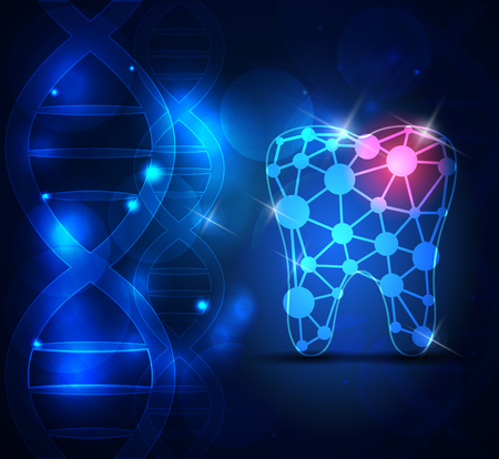 abstract tooth: Tooth scientific design on a blue  abstract background with DNA chain