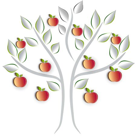 cut out paper: Apple tree on a white background, artistic cut out paper effect design