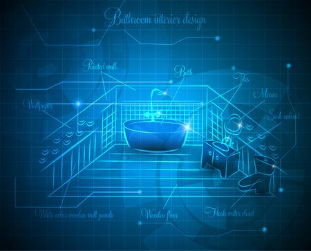 Bathroom interior design idea sketch abstract blue background