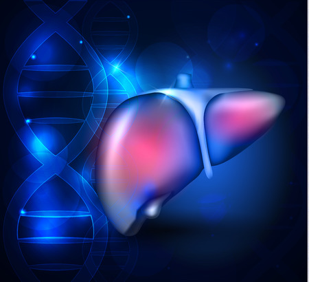 Liver anatomy abstract blue scientific background with DNA chain Illustration