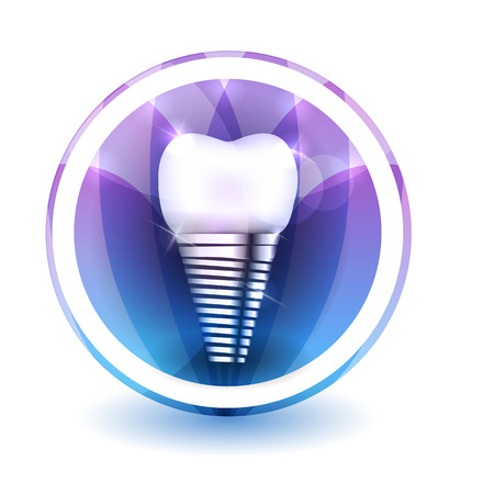 silhouette fleur: Signe de l'implant dentaire, forme ronde colorés pétales superposition de fleurs à l'arrière-plan