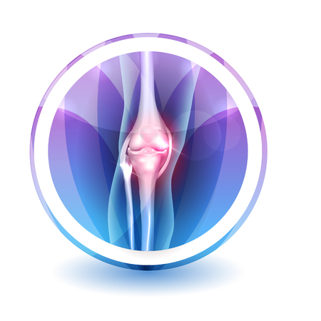 lower limb: Joint anatomy Sign, round shape colorful overlay flower petals at the background Illustration