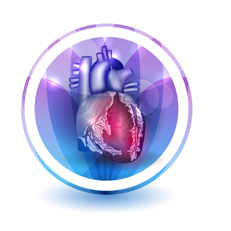 stenosis: Heart treatment sign, round shape colorful overlay flower petals at the background