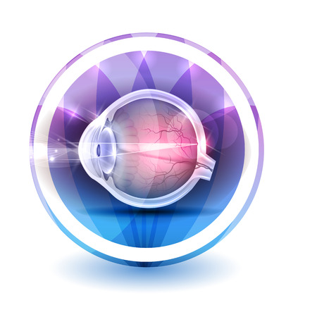 Healthy eye sign, round shape colorful overlay flower petals at the background