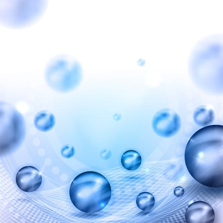 밝은 파란색 공, 라인 조명 아름 다운 추상적 인 배경, 텍스트 배치